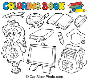 1, buch, schule, färbung, thema