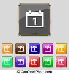 1, button., セット, シンボル。, 月, ボタン, ベクトル, 日付, カレンダー, 印, カラフルである, icon., 日