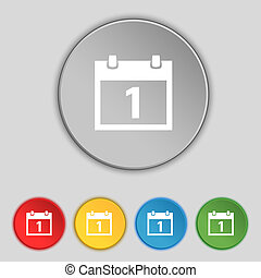 1, button., set, symbool., maand, knopen, vector, datum, kalender, meldingsbord, kleurrijke, icon., dag