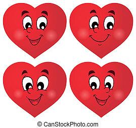 1, cœurs, ensemble, valentin, thématique