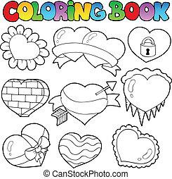 1, cœurs, livre coloration, collection