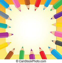 1, cadre, crayons