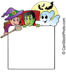 1, cadre, halloween, caractères