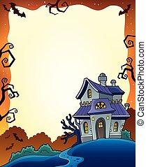 1, cadre maison, hanté, halloween
