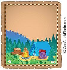 1, camping, tema, pergamino