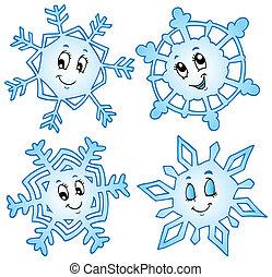 1, caricatura, colección, copos de nieve