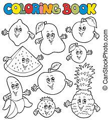 1, caricatura, libro colorear, fruits