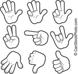 #1, caricatura, mãos