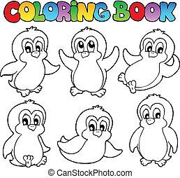 1, carino, libro colorante, pinguini