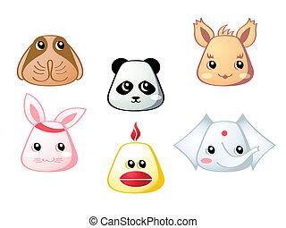 1, carino, set, animali, |