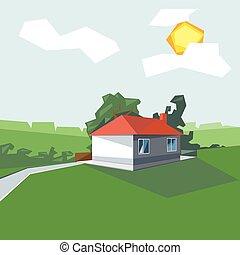1, casa, vista, chão, persp