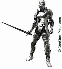 1, cavaliere, armatura, -, medievale