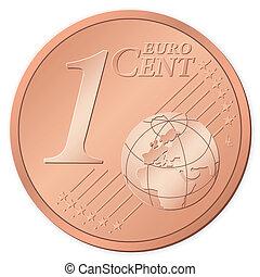 1, centavo, euro