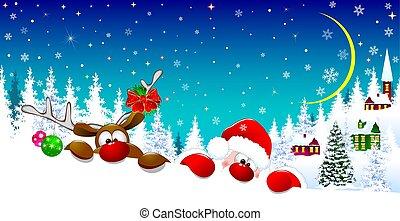 1, cerf, noël, santa, nuit