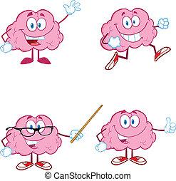 1, cerveau, dessin animé, collection, mascotte