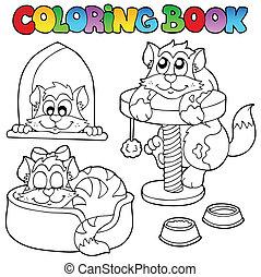 1, chats, coloration, divers, livre