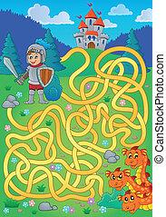 1, chevalier, thème, labyrinthe, dragon