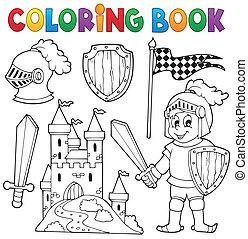 1, chevalier, thème, livre coloration