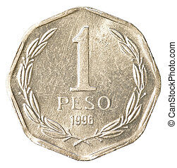 1 chilean peso coin isolated on white background
