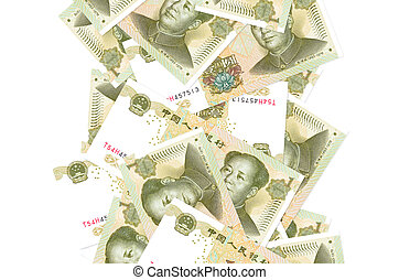 1 Chinese yuan bills flying down isolated on white. Many ...