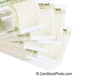 1 Chinese yuan bills lies in small bunch or pack isolated on white. Mockup with copy space. Business and currency exchange