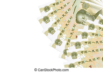 1 Chinese yuan bills lies isolated on white background with copy space. Rich life conceptual background