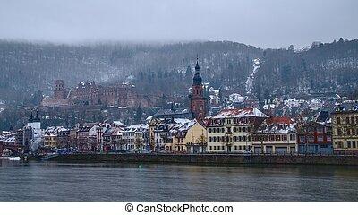 1, città, vecchio, inverno, heidelberg