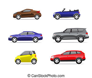1, coches, parte, conjunto, iconos
