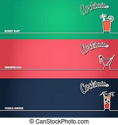 1, cocktail, fondo, contorno