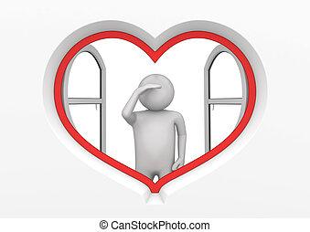 1, coeur, fenêtre, observateur