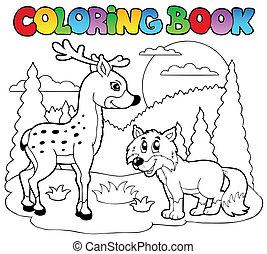 1, coloração, animais, livro, feliz