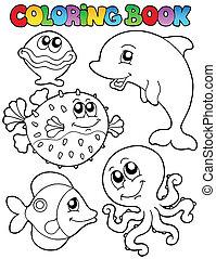 1, coloração, animais, livro, mar