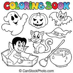 1, coloração, dia das bruxas, livro, desenhos animados