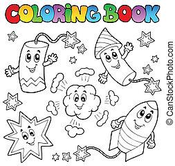 1, coloração, tema, fogos artifício, livro