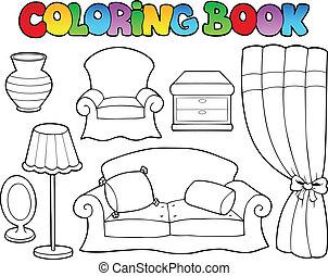 1, coloração, vário, livro, mobília