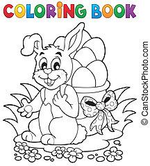 1, coloration, paques, livre, lapin