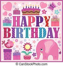 1, compleanno, composizione, felice