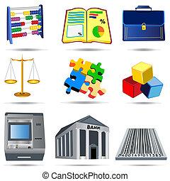 1, comptabilité, ensemble, icônes