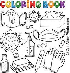 1, conjunto, colorido, prevención, virus, libro