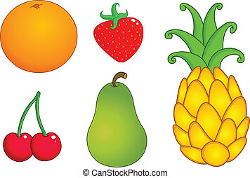 1, conjunto, fruits