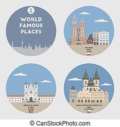 1, conjunto, places., famoso, mundo