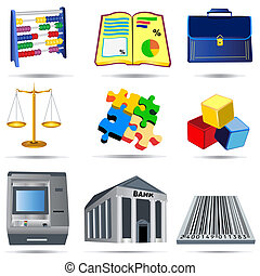 1, contabilidade, jogo, ícones
