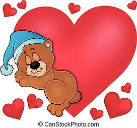 1, coração, imagem, tema, urso