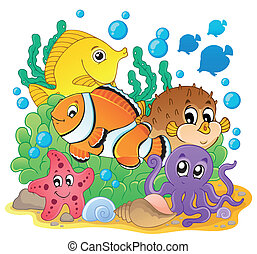 1, coral, imagen, tema, pez