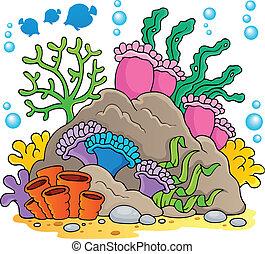 1, coral, tema, imagem, recife