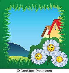 1, cornice, erba, fiori