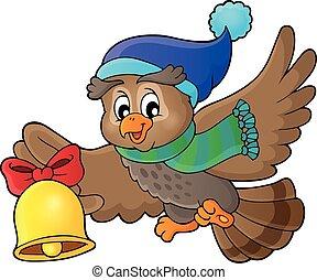 1, coruja, tema, natal, imagem