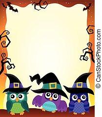 1, corujas, imagem, dia das bruxas, tema