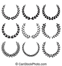 1, couronnes laurier, noir