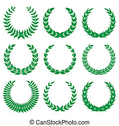 1, couronnes laurier, vert